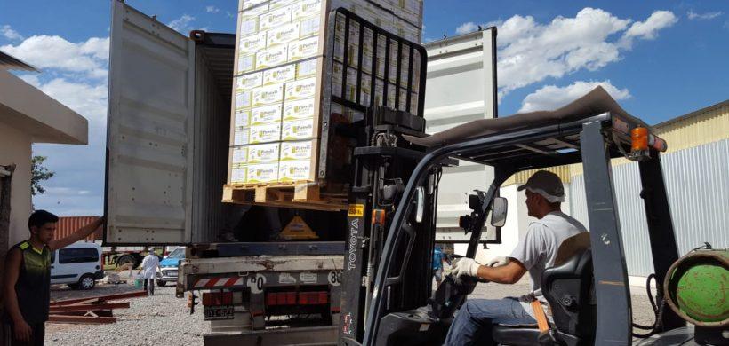 Partió el primer contenedor de ciruelas deshidratadas al hub logístico de Dubai